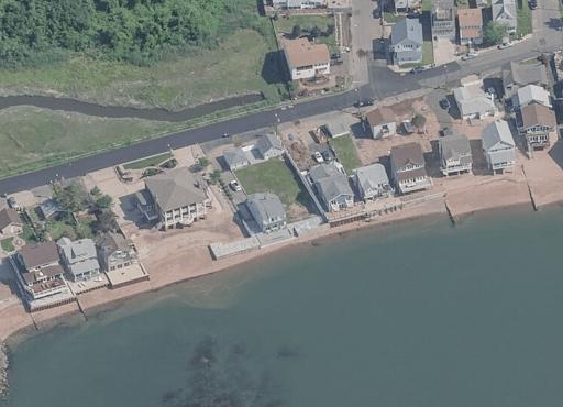 Aerial view of East Haven coastline