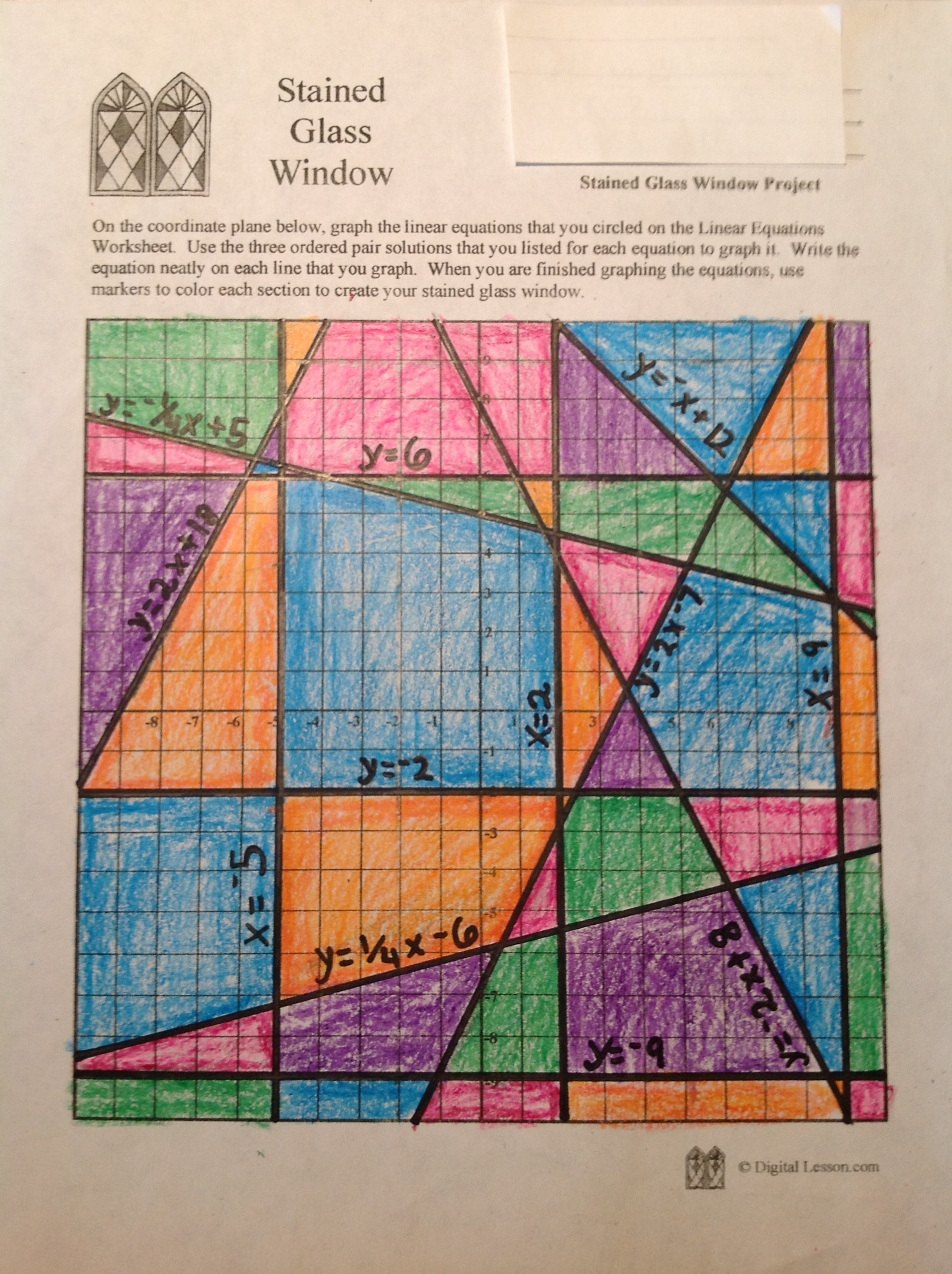 Graphing Linear Equations Quilt Project Worksheet Answer