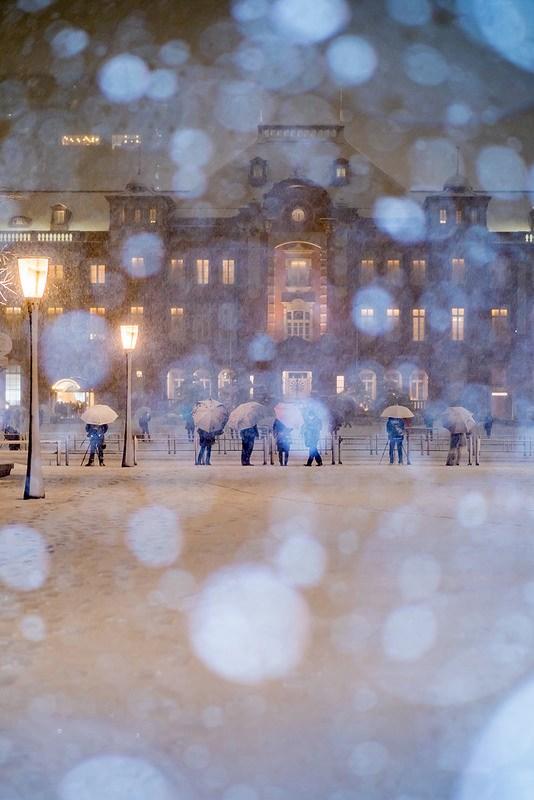 大雪の東京駅 #東京雪景色