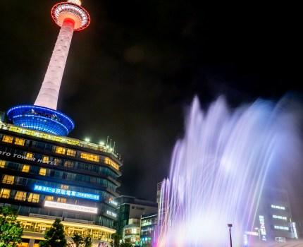 音楽と光の噴水と東京タワー 京都駅 AQUA FANTASY