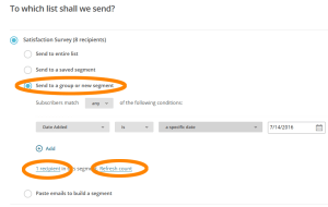 Send a new Satisfaction Survey - Step 3