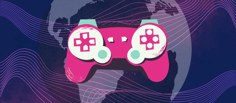 Illustrated Banner Image with globe and gaming controller icons
