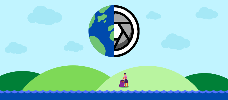 Graphic banner showing half a globe, half a camera shutter, with a figure cleaning up trash on a hill