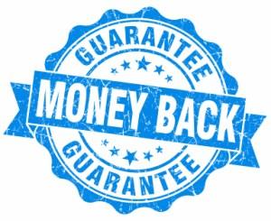 Money back blue grunge stamp
