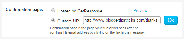 Confirmation page Setting