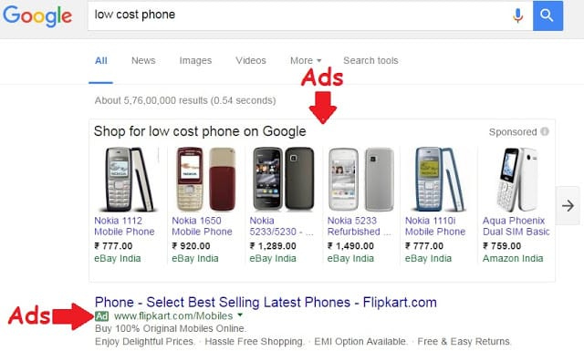 Google Adwords ads on search engine