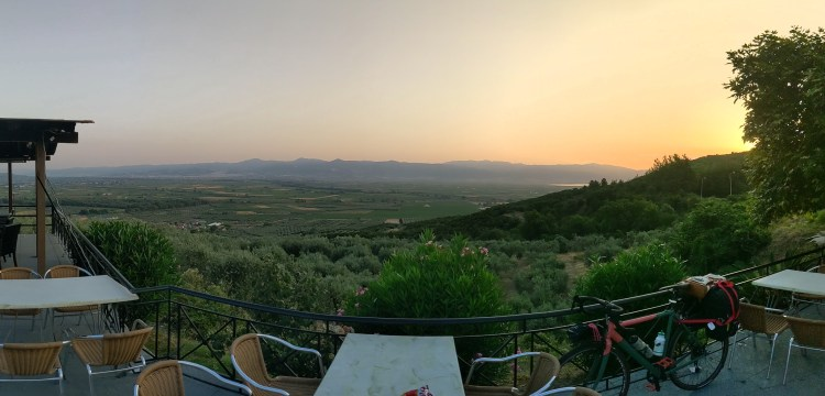 Cycling Through Greece - Breakfast outside of Lamia