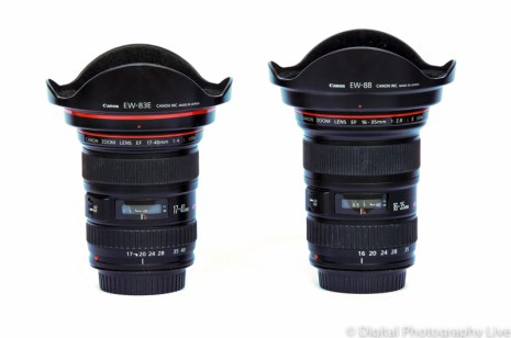 Canon EF 16-35 f-2.8L (L)& EF 17-40 f-4L (R)