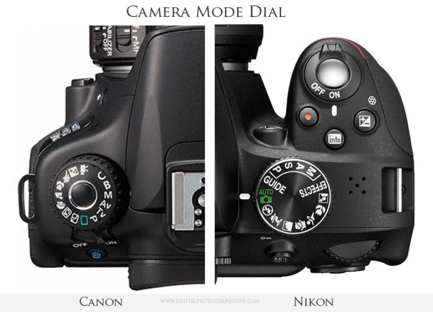 Canon vs nikon mode dial
