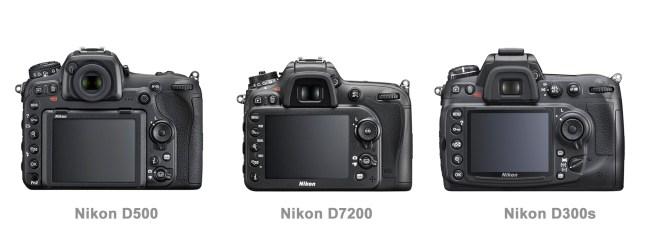Nikon D500 vs D7200 vs D300s back