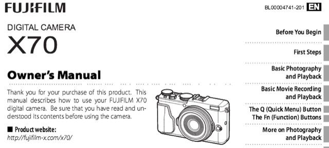 Fujiflm X70 Instruction manual