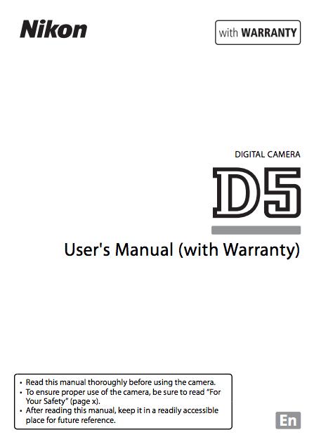 Nikon D5 Instruction or User's Manual