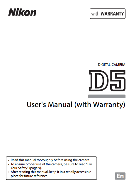 Nikon D5 Instruction or User's Manual