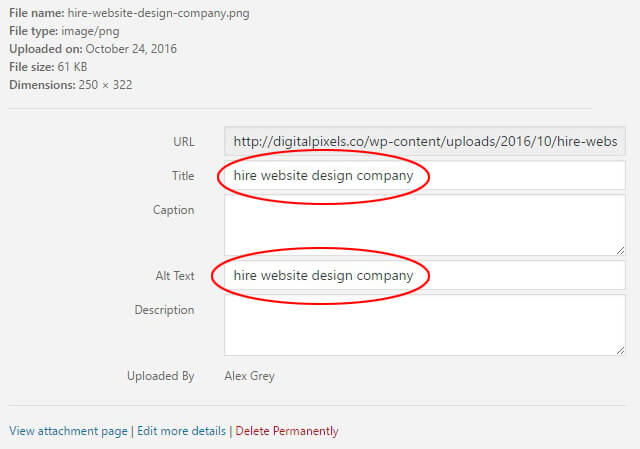 image title and alt tag details in WordPress