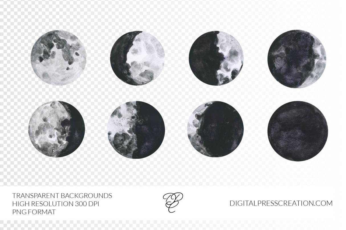 Moon Phases watercolor Images, Digital elements