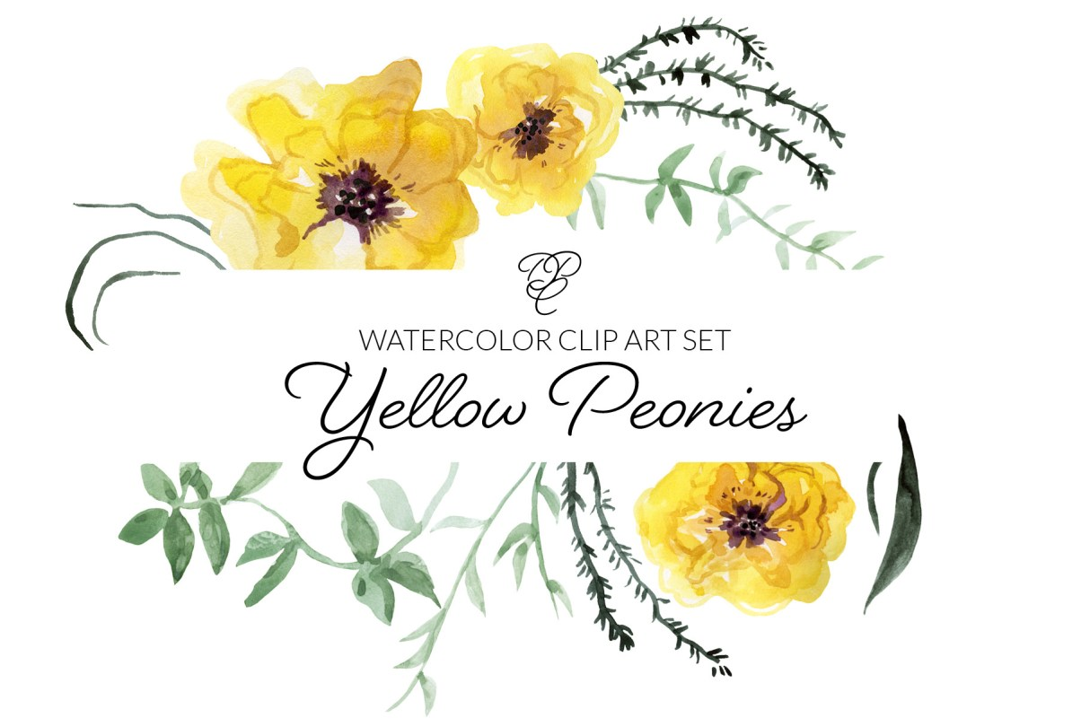 Watercolor Clipart Yellow Peonies