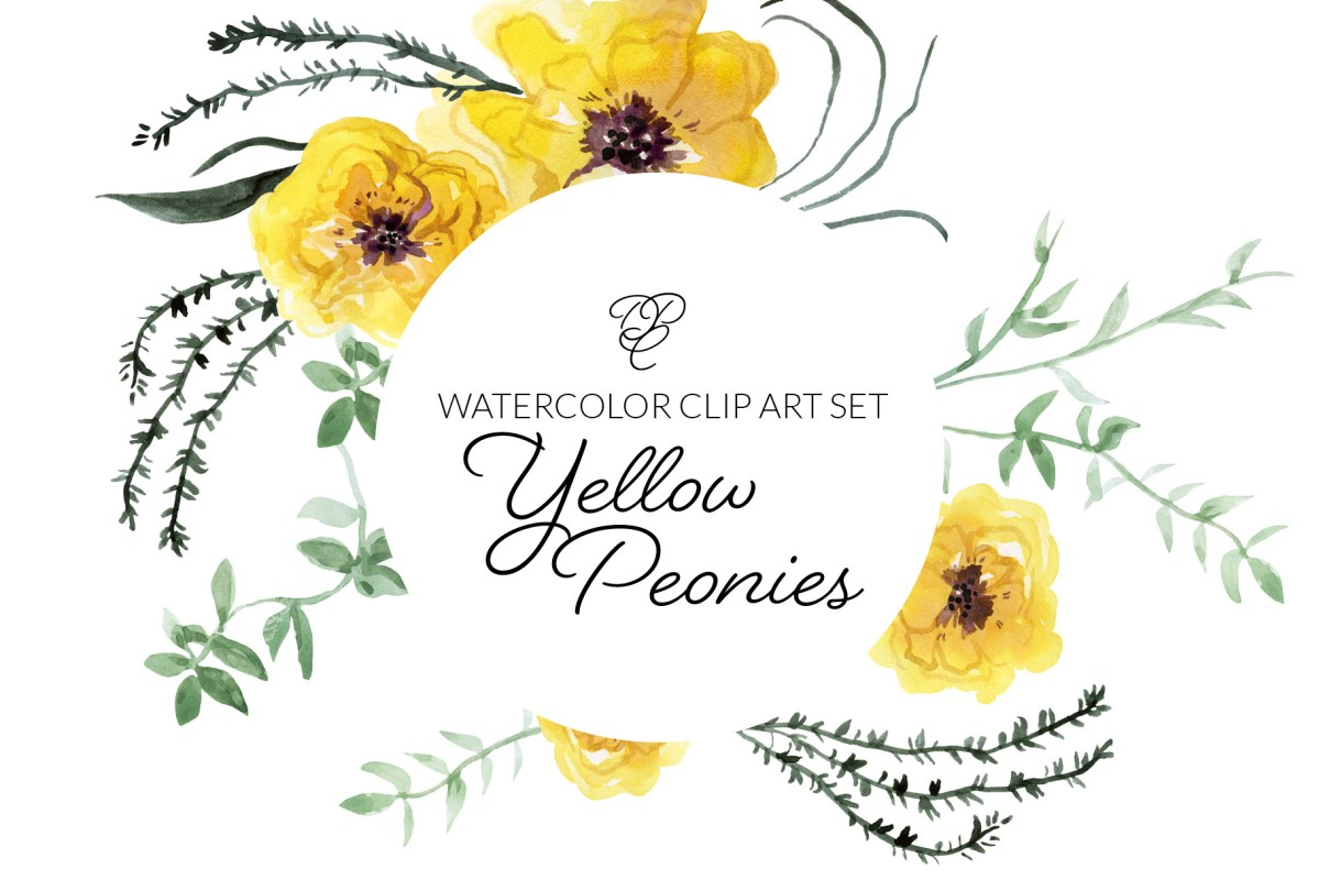 Yellow Peonies Watercolor Clipart, Transparent Background