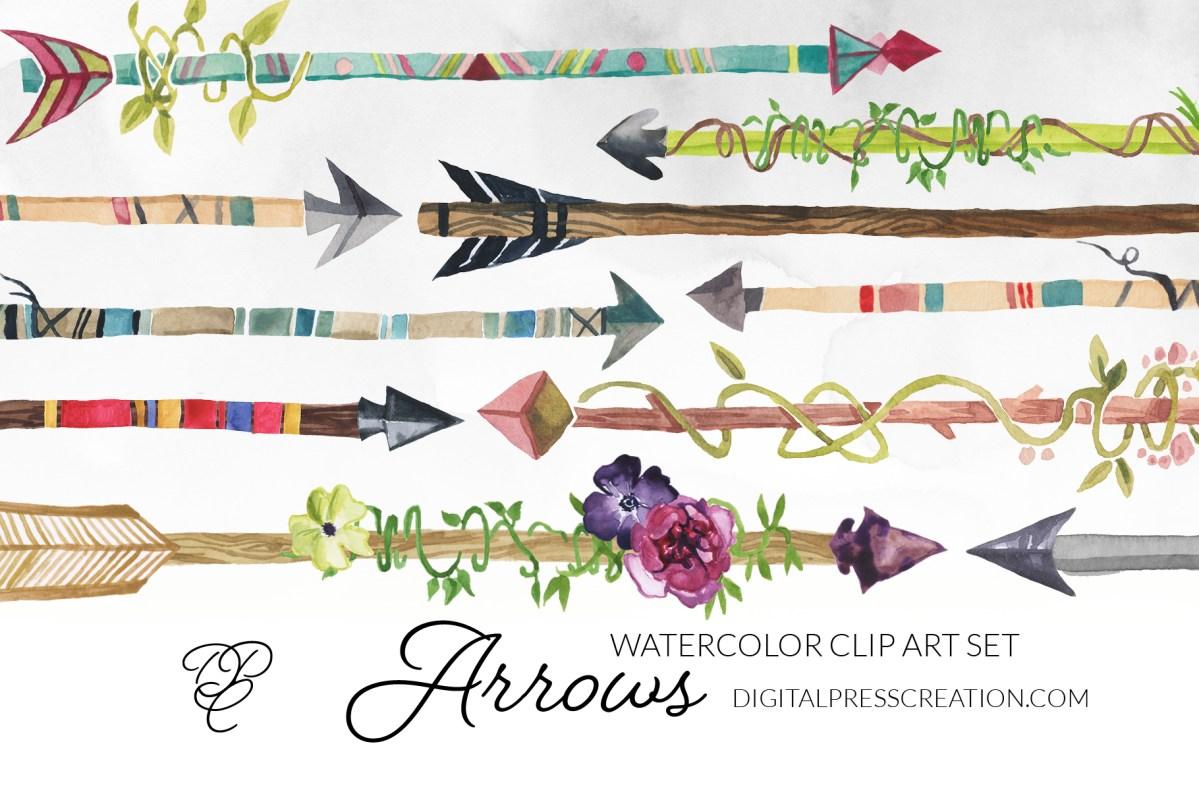 Digital watercolor arrows clipart set