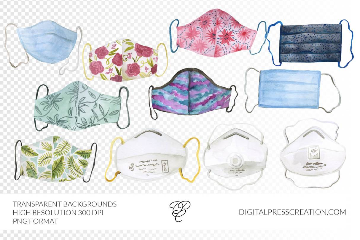 Face Mask Clipart graphics, N95 clip art, homemade face mask transparent background