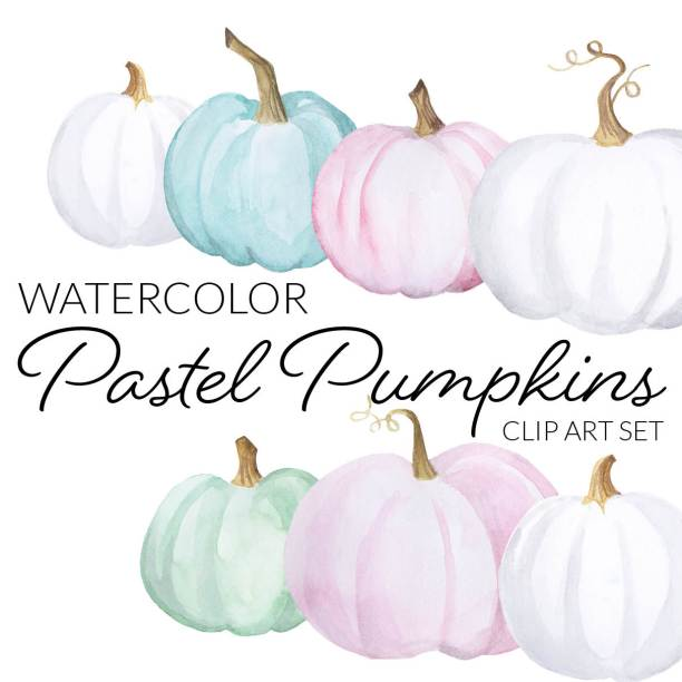 Watercolor Pastel Pumpkins Clipart, halloween crafty blogger clipart