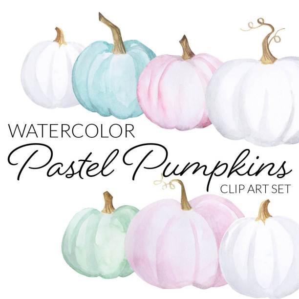 Watercolor Pastel Pumpkins Clipart, halloween crafty blogger clipart