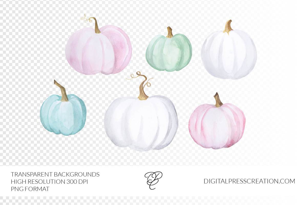 Watercolor Pastel Pumpkins clipart with transparent backgrounds