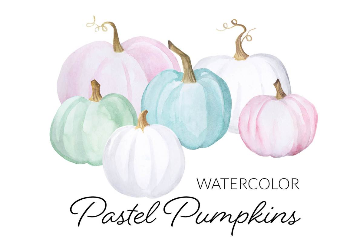Watercolor pastel pumpkins