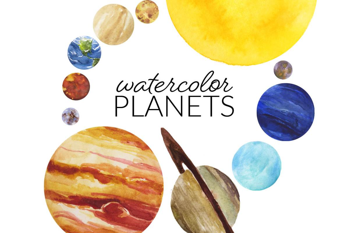 Watercolor Planets Clipart, classroom artwork solar system PNG