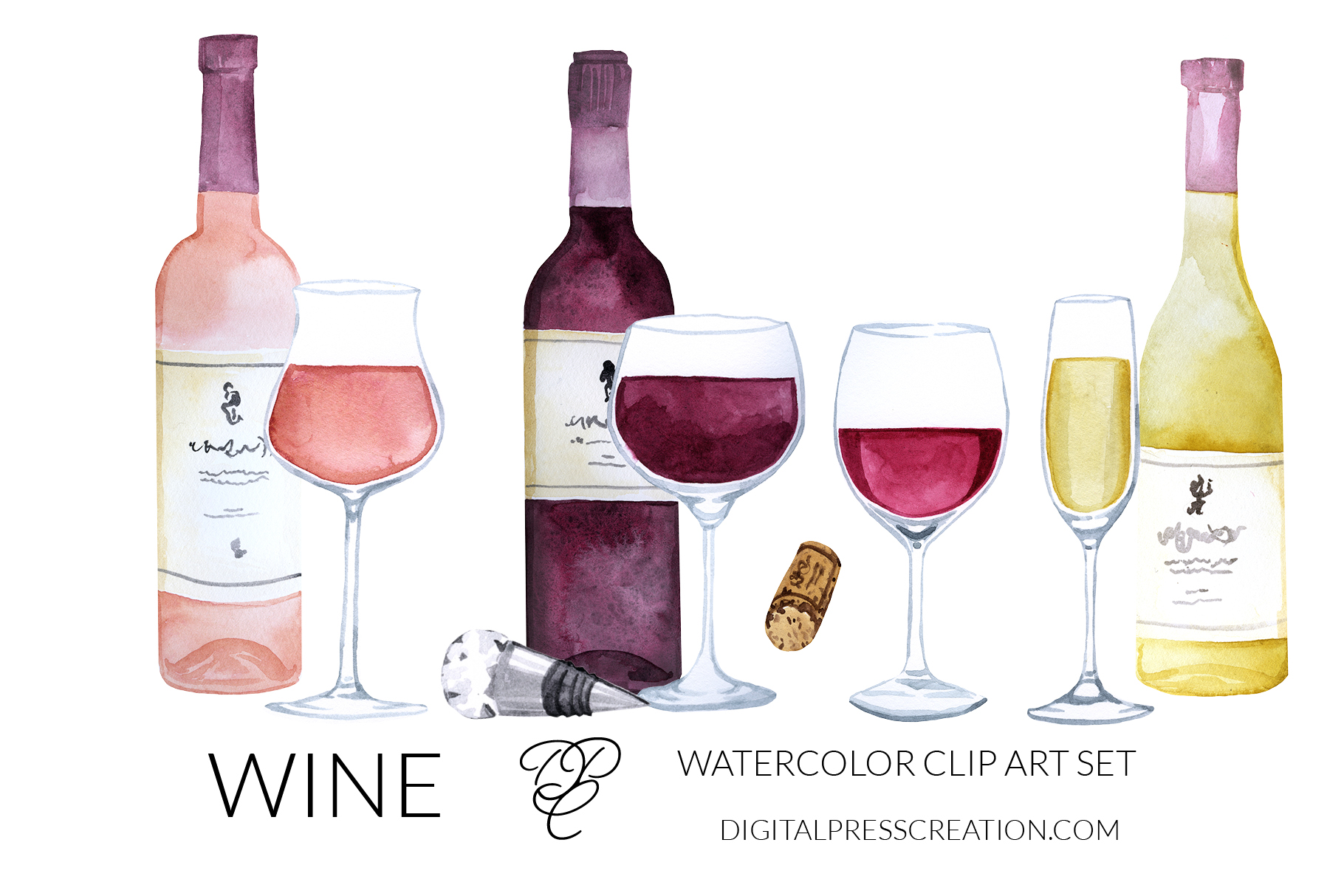 Watercolor Wine Glass Clipart Digital Press Creation