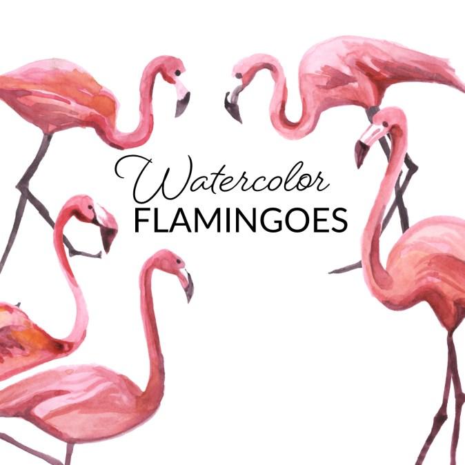Watercolor Flamingoes
