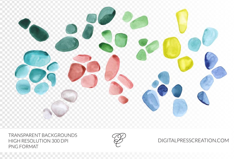 Watercolor Sea glass transparent PNG clip art, 300DPI