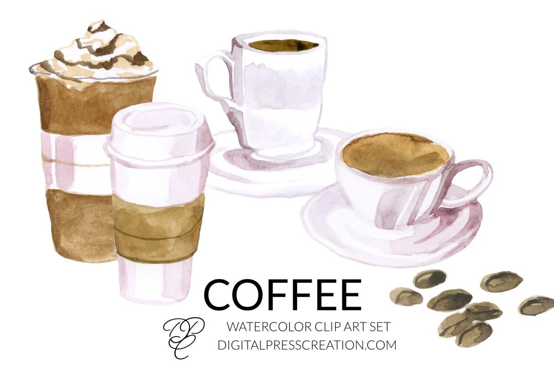 Watercolor Coffee artwork, digital coffee art, late, americano, mocha ice