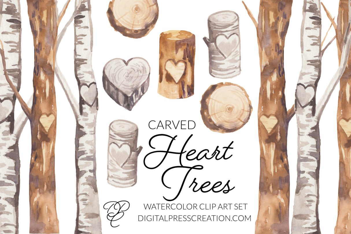 Watercolor Heart Trees Carved overview stumps, logs, trees, birch, romantic clipart