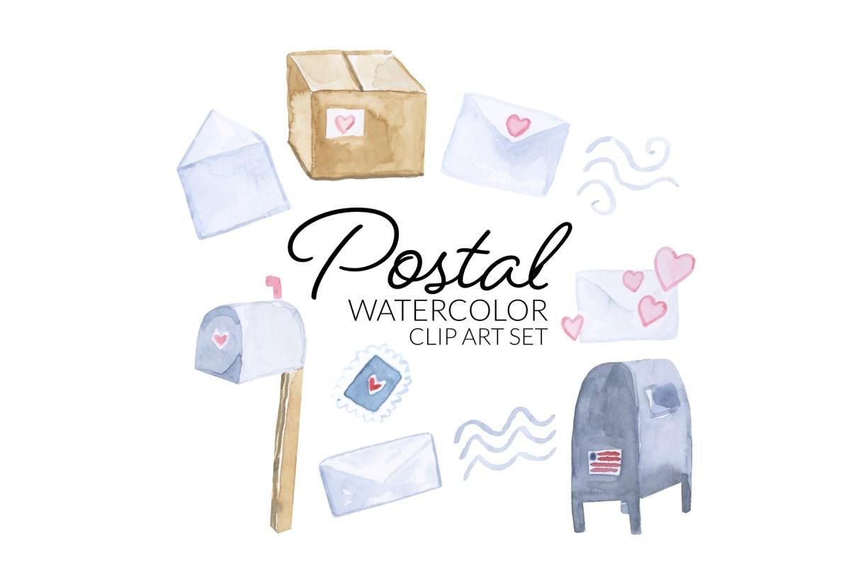 Watercolor Postal Service clipart, digital mail illustration, transparent backgrounds