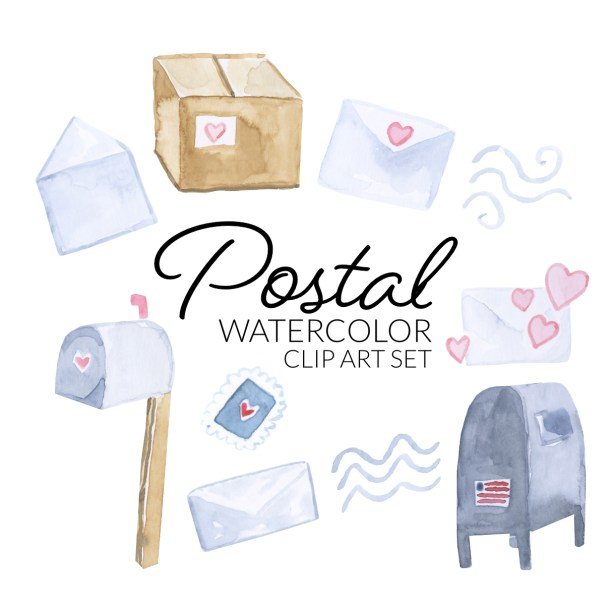 Watercolor Postal Service clipart, digital mail illustration, transparent backgrounds