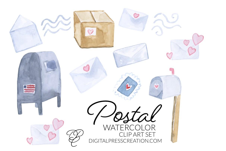 Watercolor Postal Clipart set, digital mail clip art
