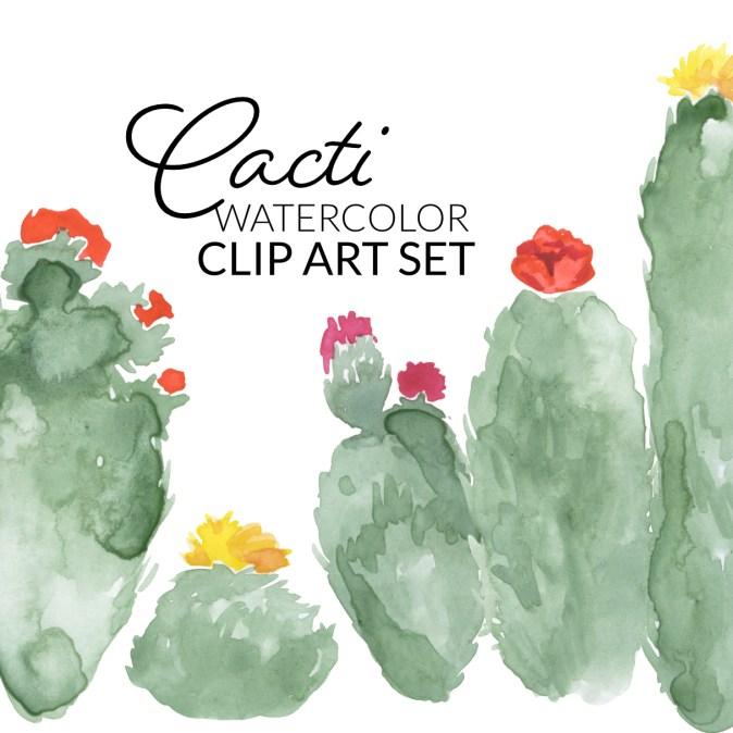 Watercolor cacti clip art set, digital cactus elements, watercolor artwork clipart
