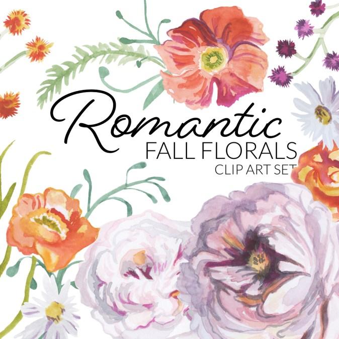 Romantic Fall Florals Clipart digital artwork