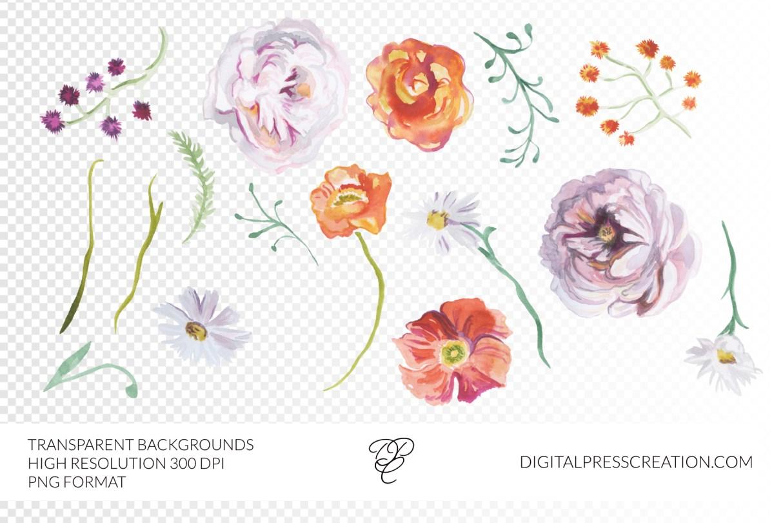 Romantic Fall florals clipart transparent background 300 dpi fall wedding clipart illustration