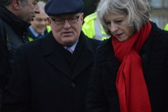 Home Secretary Theresa May today joined Surrey County Council Leader David Hodge at Molesey Lock and Weir near Hampton Court to discuss the River Thames Scheme after the government announced £60m of extra funding for the flood defence project.