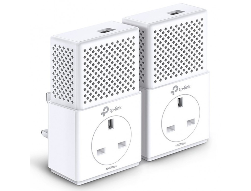 Tp Link Tl Pa P Kit Gigabit Passthrough Powerline Adapter Kit