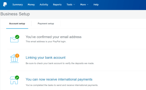 PayPal Account & Payment setup