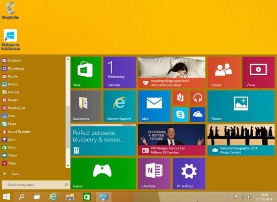 windows 10 baslat menusu