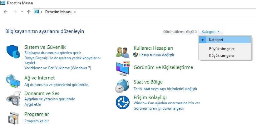 Windows Denetim Masası