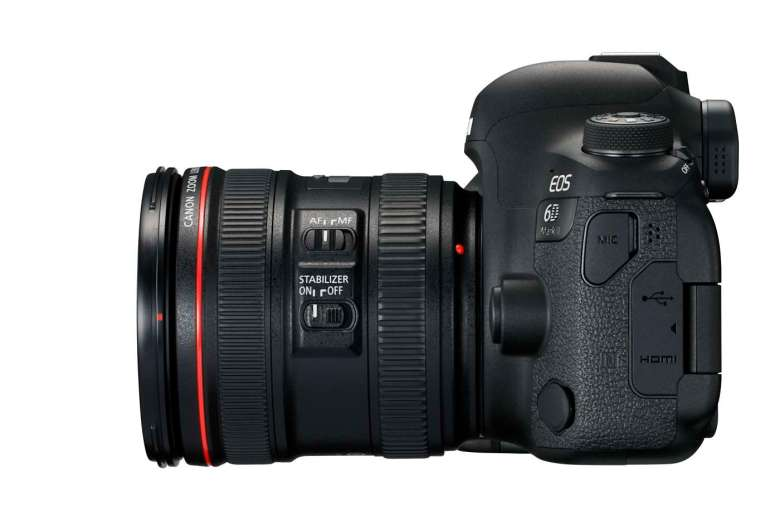 The 6D MkII captures Full HD video but has no headphone port to monitor the audio