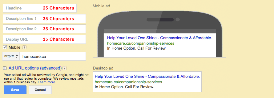 Google Standard Text Ads in Google AdWords