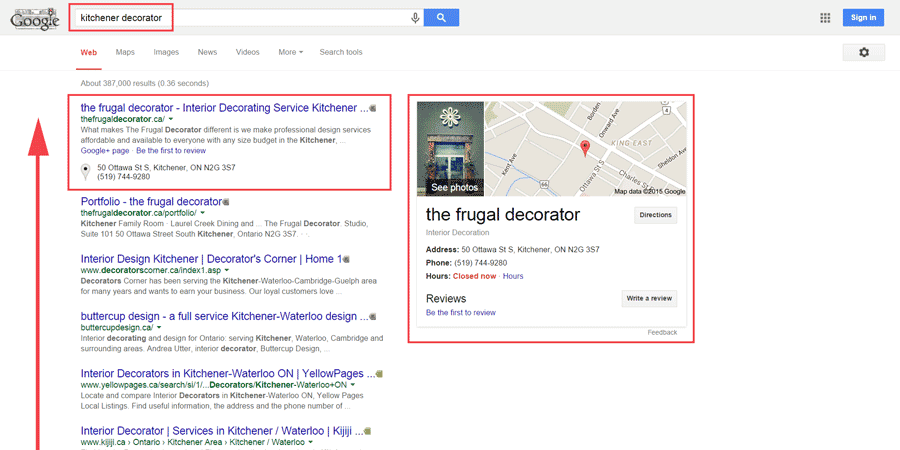local seo case study - page 1 of google results