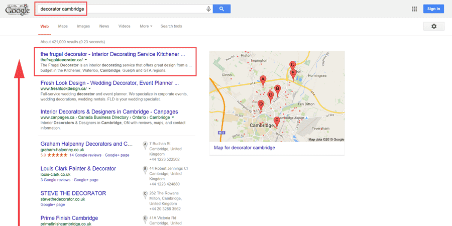 local seo case study cambridge ontario