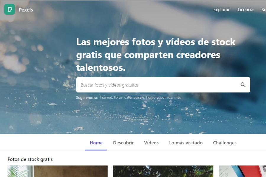 Imágenes libres de derechos para usar en páginas Web. Captura de Pexels