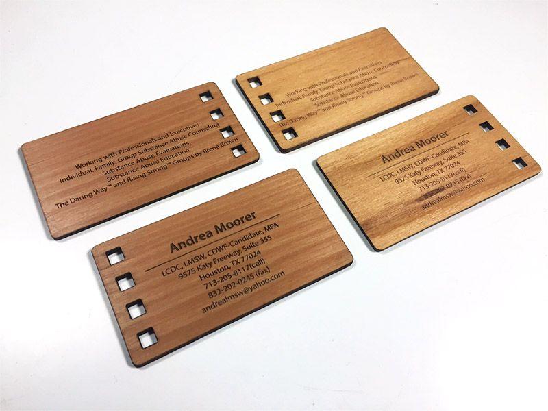 Laser engraved business cards on wood, metal, plastic ...
